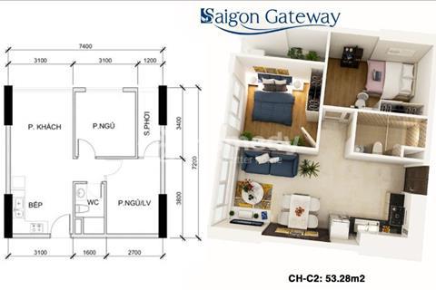 Cần bán căn hộ 53 m2, 2 phòng ngủ, vị trí đẹp nhất quận 9 và quận Thủ Đức, giá 1,5 tỷ, bao sang tên