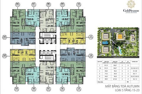 Bán gấp căn hộ chung cư GoldSeason 47 Nguyễn Tuân 1505 (80m2) và 1509 (60m2) tòa Autumn, 26 trệu/m2