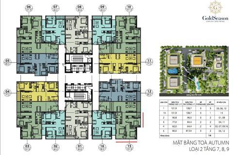 Chính chủ bán gấp căn hộ Gold Season 47 Nguyễn Tuân 1805 (80m2) 1516 (60m2), giá 28 triệu/m2