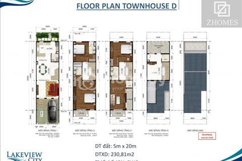 Cho thuê nhà phố Lakeview City nội thất cơ bản mặt tiền đường 25m