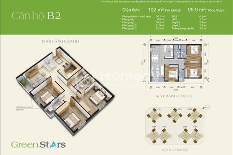 Gia đình cần bán nhanh căn hộ 102m2 tòa A1 Green Stars full đồ, giá bán 29,4 triệu/m2