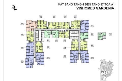 Bán căn hộ 1010 80,4m2 và 1612B 105m2, A2, chung cư Vinhomes Gardenia, giá lỗ 33 triệu/m2