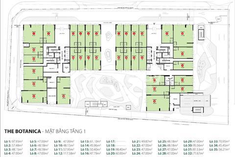 The Botanica- Cho thuê lô shophouse, 61m2, giá chỉ 25 triệu/tháng, quá rẻ so với giá thị trường