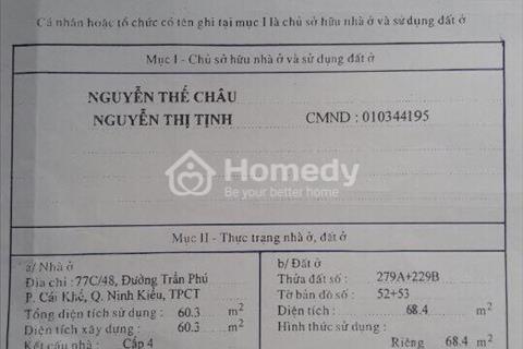Bán nhà trung tâm đầu hẻm 77C Trần Phú, phường Cái Khế, giá 1,5 tỷ