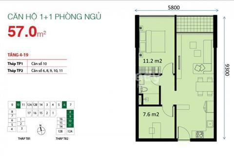 Bán gấp căn hộ 2 phòng ngủ, 2.2 tỷ, lầu cao, view quận 1, gần sân bay