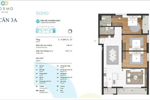 Bán căn hộ 3 ngủ, view cực đẹp, giá siêu tốt, dự án Kosmo Tây Hồ